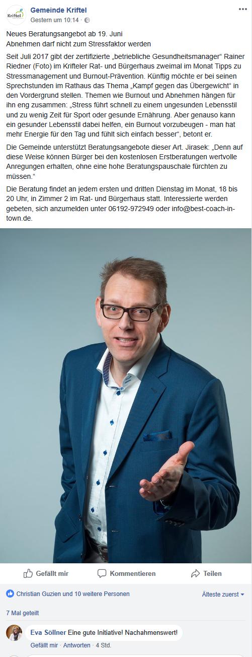Facebook-Bericht-Gemeinde Kriftel Mai 2018